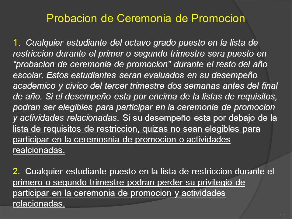 Probacion de Ceremonia de Promocion 1. Cualquier estudiante del octavo grado puesto en la lista de restriccion durante el primer o segundo trimestre s