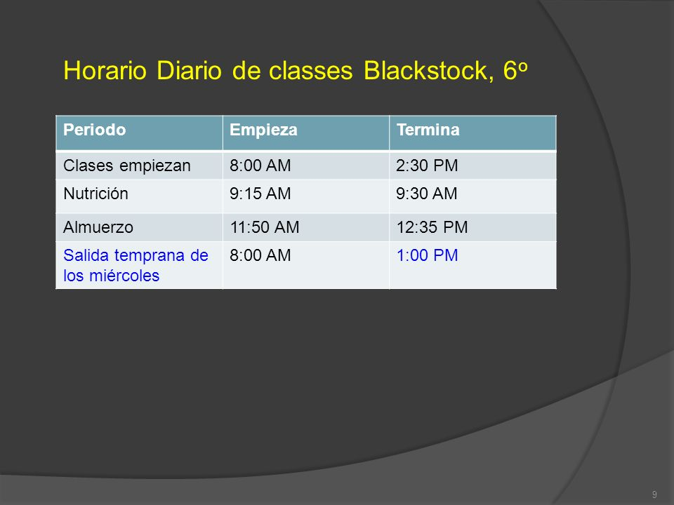 Horario Diario de classes Blackstock, 6 o PeriodoEmpiezaTermina Clases empiezan8:00 AM2:30 PM Nutrición9:15 AM9:30 AM Almuerzo11:50 AM12:35 PM Salida