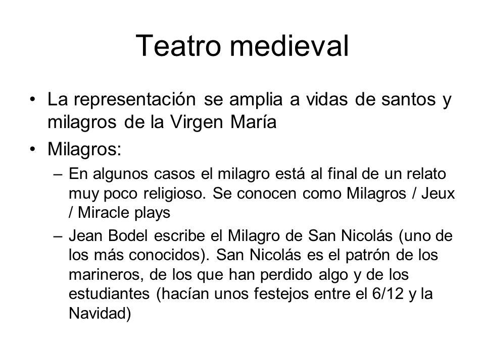 Teatro medieval La representación se amplia a vidas de santos y milagros de la Virgen María Milagros: –En algunos casos el milagro está al final de un