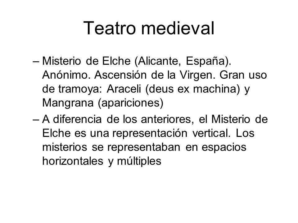 Teatro medieval –Misterio de Elche (Alicante, España). Anónimo. Ascensión de la Virgen. Gran uso de tramoya: Araceli (deus ex machina) y Mangrana (apa