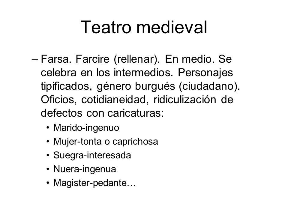 Teatro medieval –Farsa. Farcire (rellenar). En medio. Se celebra en los intermedios. Personajes tipificados, género burgués (ciudadano). Oficios, coti