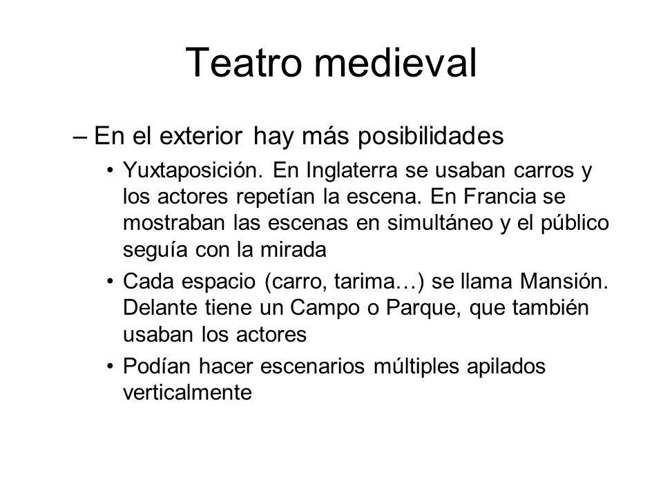 Teatro medieval –En el exterior hay más posibilidades Yuxtaposición. En Inglaterra se usaban carros y los actores repetían la escena. En Francia se mo