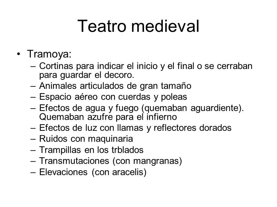Teatro medieval Tramoya: –Cortinas para indicar el inicio y el final o se cerraban para guardar el decoro. –Animales articulados de gran tamaño –Espac