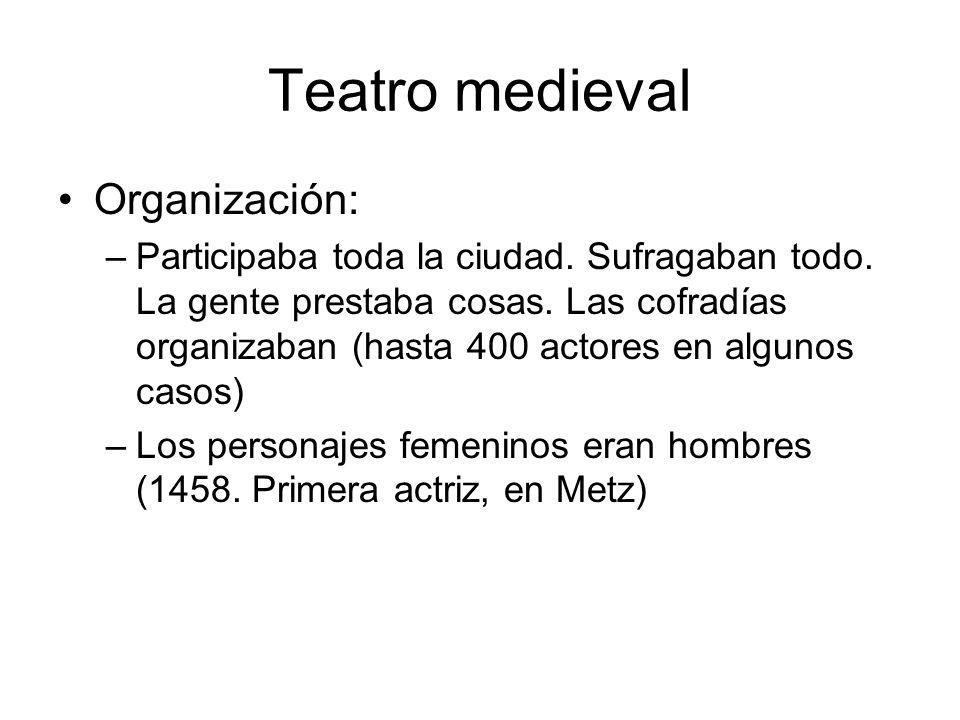 Teatro medieval Organización: –Participaba toda la ciudad. Sufragaban todo. La gente prestaba cosas. Las cofradías organizaban (hasta 400 actores en a