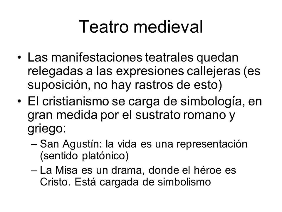 Teatro medieval Las manifestaciones teatrales quedan relegadas a las expresiones callejeras (es suposición, no hay rastros de esto) El cristianismo se