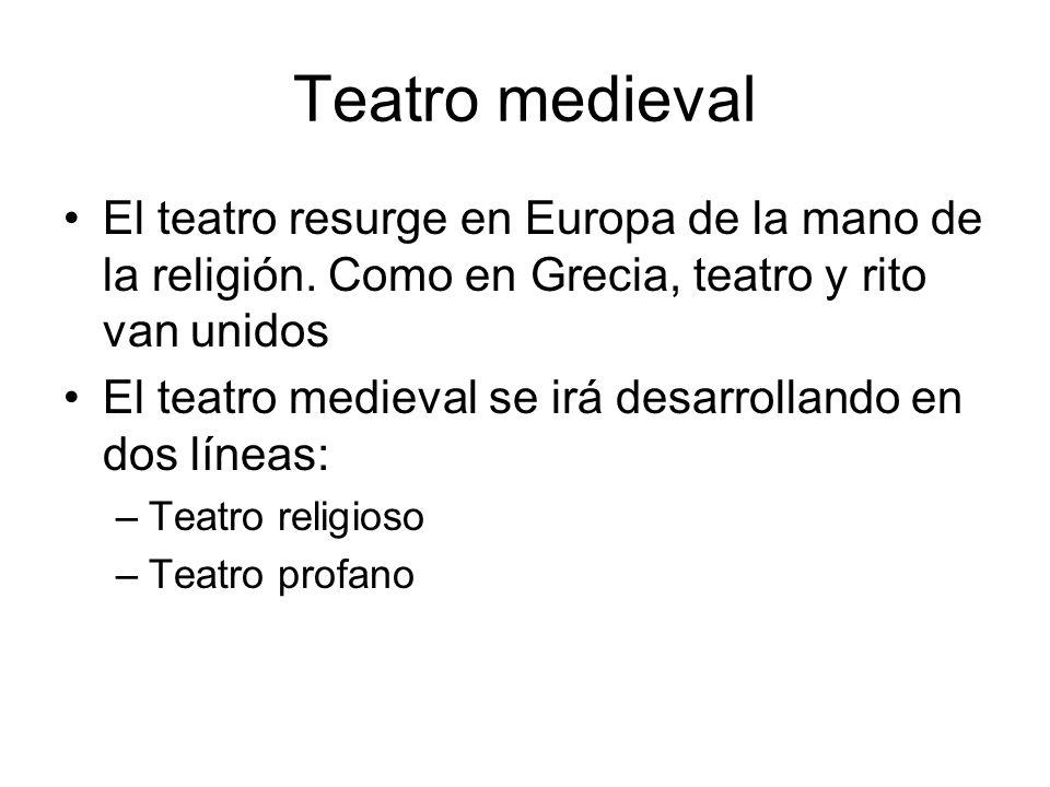 Teatro medieval El teatro resurge en Europa de la mano de la religión. Como en Grecia, teatro y rito van unidos El teatro medieval se irá desarrolland