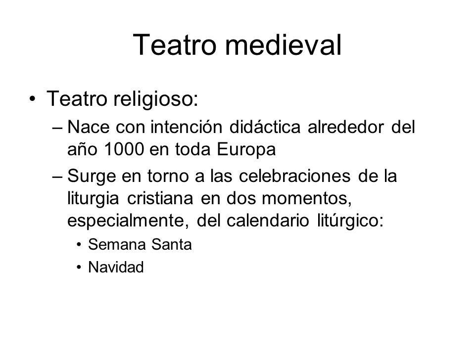 Teatro medieval Teatro religioso: –Nace con intención didáctica alrededor del año 1000 en toda Europa –Surge en torno a las celebraciones de la liturg