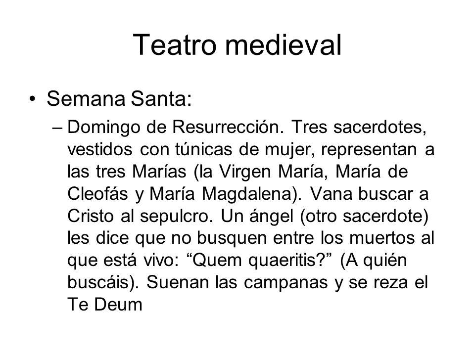 Teatro medieval Semana Santa: –Domingo de Resurrección. Tres sacerdotes, vestidos con túnicas de mujer, representan a las tres Marías (la Virgen María