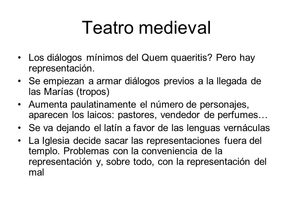 Teatro medieval Los diálogos mínimos del Quem quaeritis? Pero hay representación. Se empiezan a armar diálogos previos a la llegada de las Marías (tro
