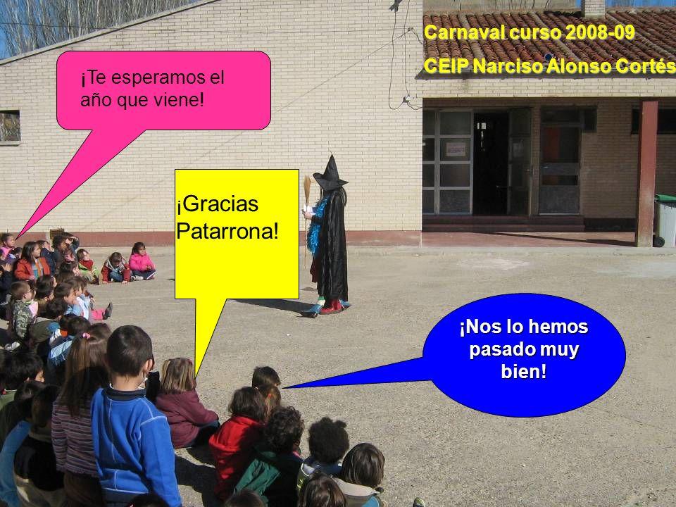 ¡ Gracias Patarrona! ¡Nos lo hemos pasado muy bien! ¡Te esperamos el año que viene! Carnaval curso 2008-09 CEIP Narciso Alonso Cortés