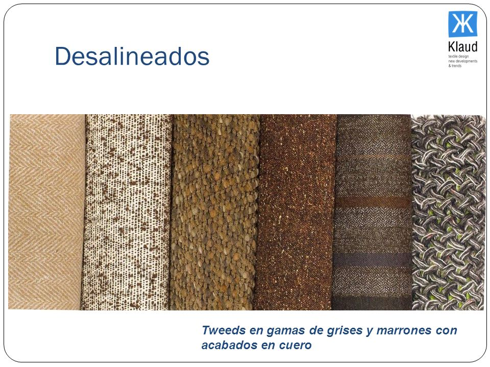Desalineados Tweeds en gamas de grises y marrones con acabados en cuero