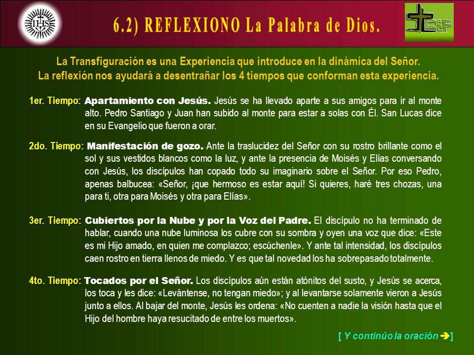 La Transfiguración es una Experiencia que introduce en la dinámica del Señor. La reflexión nos ayudará a desentrañar los 4 tiempos que conforman esta