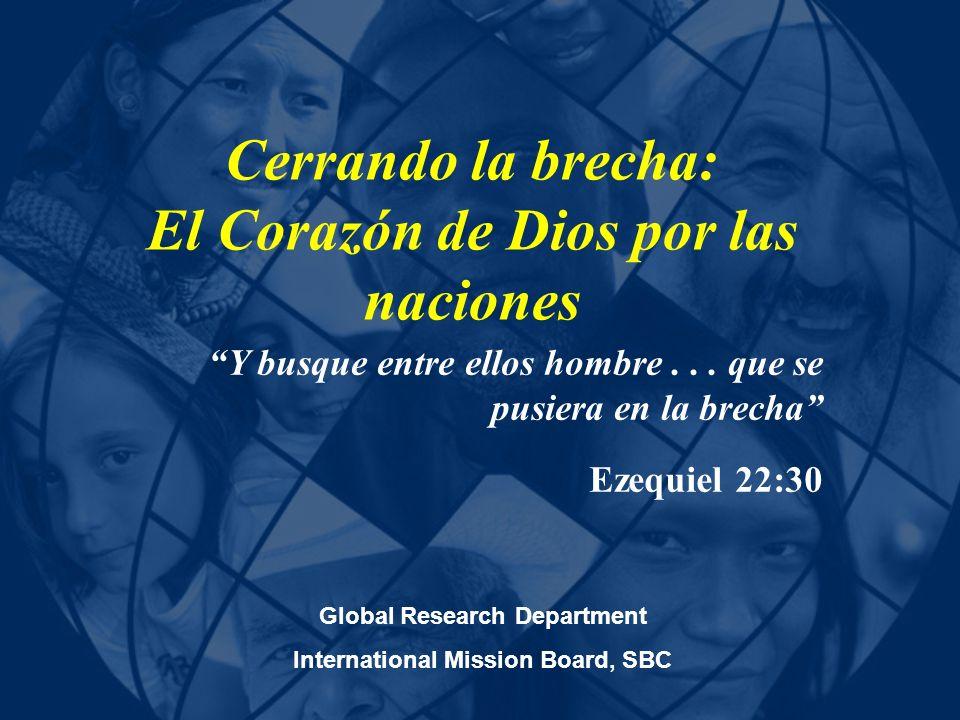 Cada cuadrito = 5 Millones de almas perdidas Hay 5,500 Misioneros en el lMB ¿Cómo podemos distribuir los recursos para recoger la cosecha más grande para el reino?