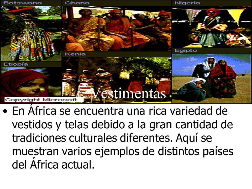 Vestimentas En África se encuentra una rica variedad de vestidos y telas debido a la gran cantidad de tradiciones culturales diferentes. Aquí se muest