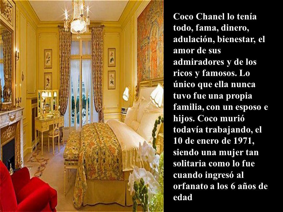 Suite Coco ChanelSuite Coco Chanel del hotel Ritz de Paris, la creadora se encontraba tan bien en ella que la convirtió en su residencia