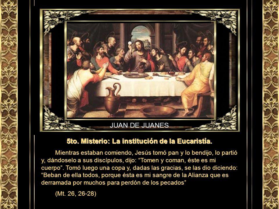 DUCIO 4to. Misterio: La Transfiguración de Jesús. Unos ocho días después de que Jesús les dijo estas palabras, llevándose a Pedro, a Santiago y a Juan