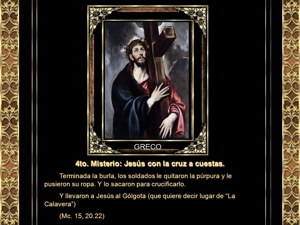 CARAVAGGIO 3er. Misterio: Jesús es coronado de espinas. Los soldados llevaron a Jesús del interior del palacio al pretorio y reunieron a toda la compa
