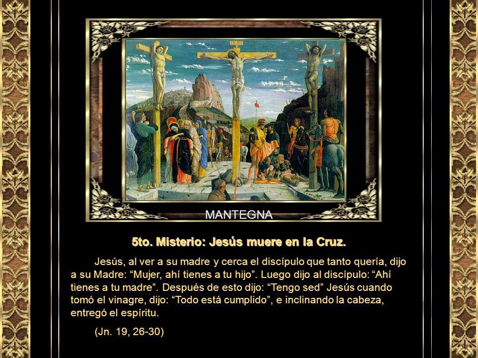 GRECO 4to. Misterio: Jesús con la cruz a cuestas. Terminada la burla, los soldados le quitaron la púrpura y le pusieron su ropa. Y lo sacaron para cru