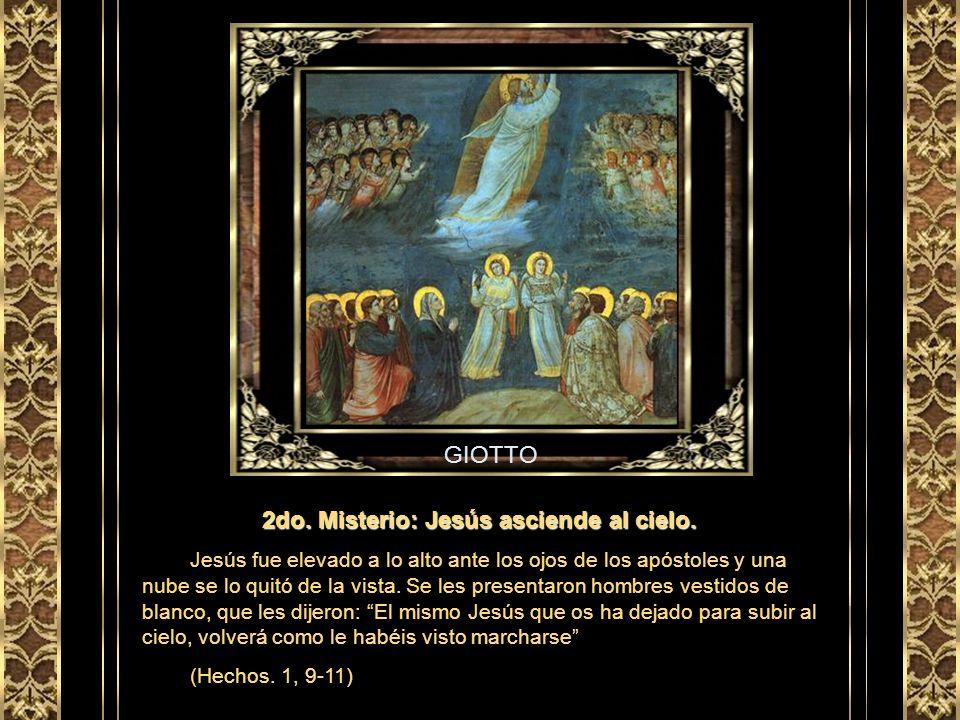 GRECO 1er Misterio: Jesús resucita del sepulcro. Al entrar en el sepulcro, las mujeres vieron un joven vestido de blanco. Y se asustaron. Él les dijo: