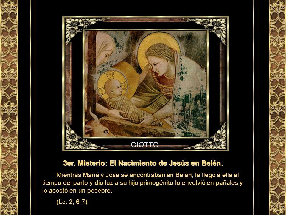 GHIRLANDAIO 2do. Misterio: La Visitación de Nuestra Señora. En cuanto Isabel oyó el saludo de María, saltó la criatura en su vientre y, llena del Espí