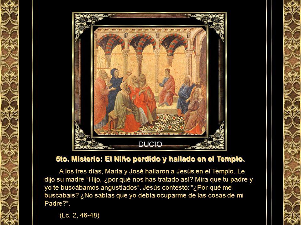 MANTEGNA 4to. Misterio: La Presentación de Jesús en el Templo. María y José llevaron el niño a Jerusalén para ofrecerlo al Señor. Simeón los bendijo y