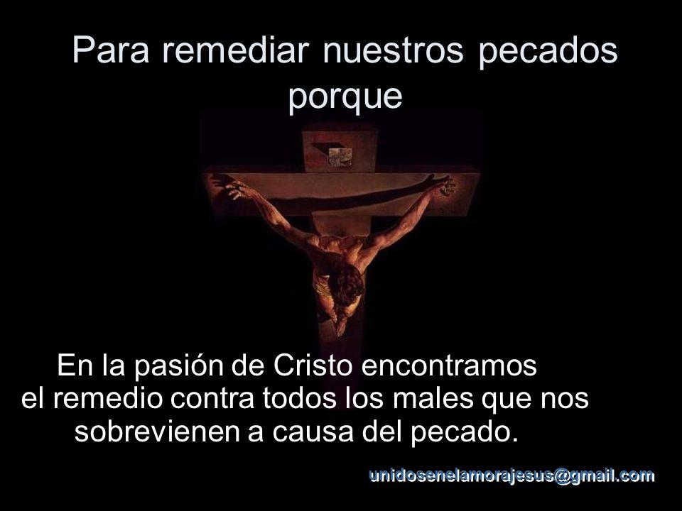 Para remediar nuestros pecados porque En la pasión de Cristo encontramos el remedio contra todos los males que nos sobrevienen a causa del pecado.