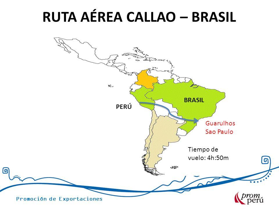 Promoción de Exportaciones RUTA AÉREA CALLAO – BRASIL PERÚ BRASIL Guarulhos Sao Paulo Tiempo de vuelo: 4h:50m