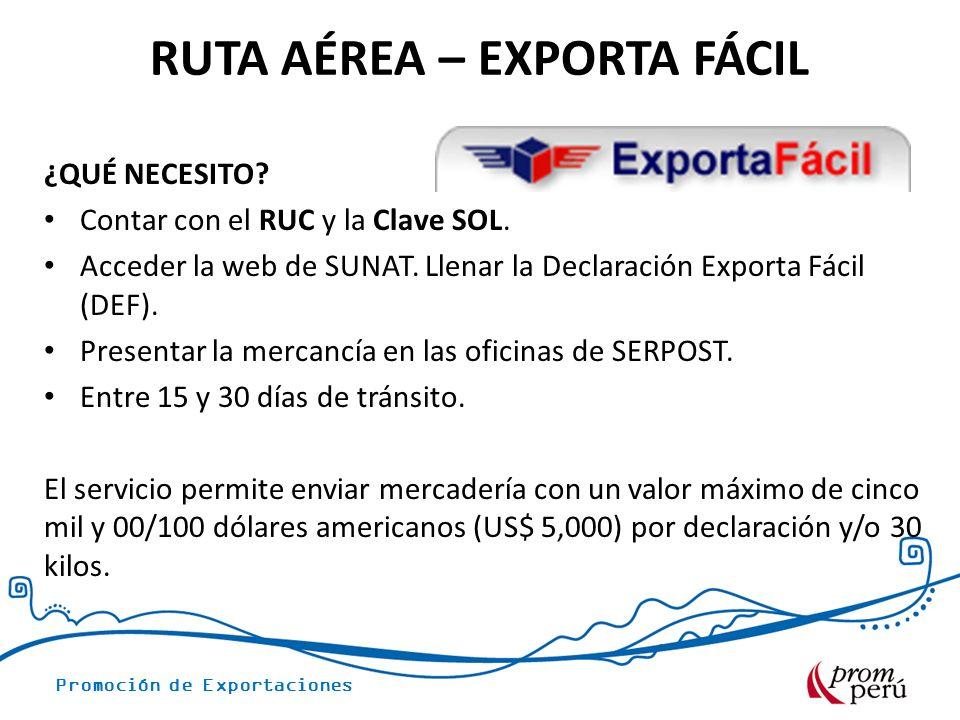 Promoción de Exportaciones ¿QUÉ NECESITO? Contar con el RUC y la Clave SOL. Acceder la web de SUNAT. Llenar la Declaración Exporta Fácil (DEF). Presen