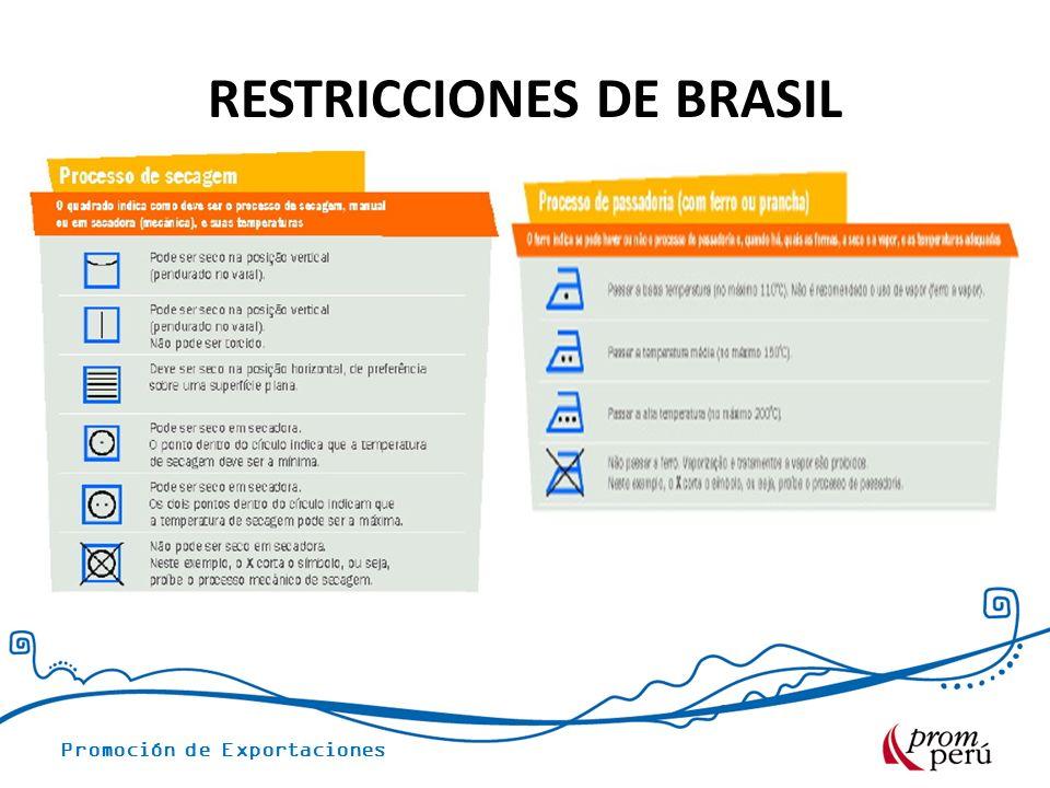 Promoción de Exportaciones RESTRICCIONES DE BRASIL