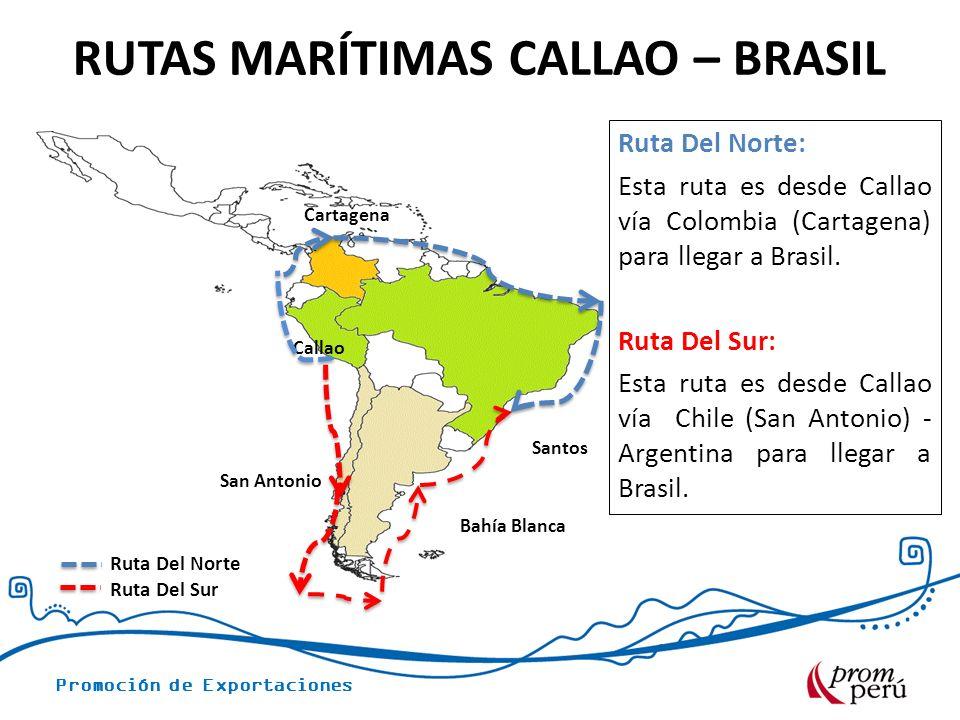 Promoción de Exportaciones RUTAS MARÍTIMAS CALLAO – BRASIL San Antonio Callao Cartagena Ruta Del Norte Ruta Del Sur Ruta Del Norte: Esta ruta es desde