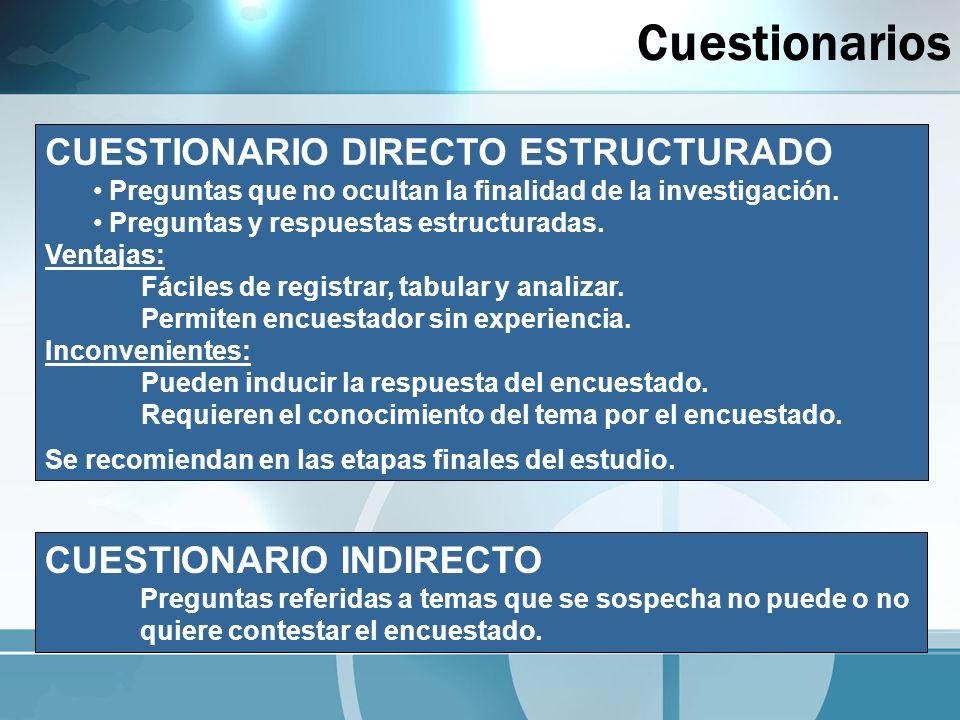 CUESTIONARIO INDIRECTO Preguntas referidas a temas que se sospecha no puede o no quiere contestar el encuestado. CUESTIONARIO DIRECTO ESTRUCTURADO Pre