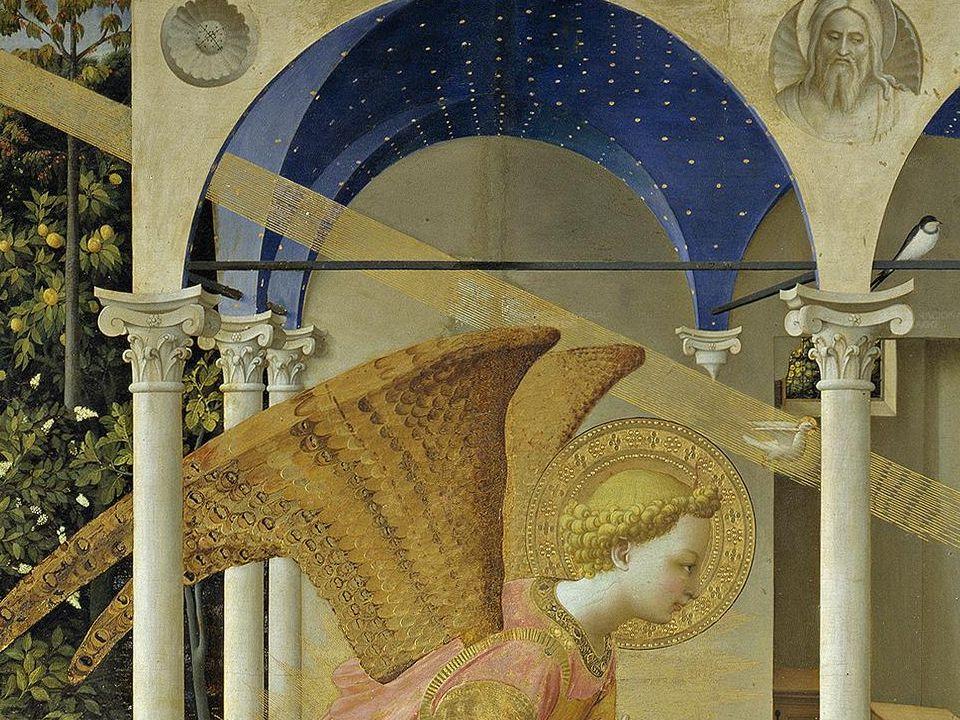 La Virgen está situada a la derecha. Parece que ante la llegada del ángel ha suspendido la lectura del libro que ahora mantiene sobre el regazo. Tanto