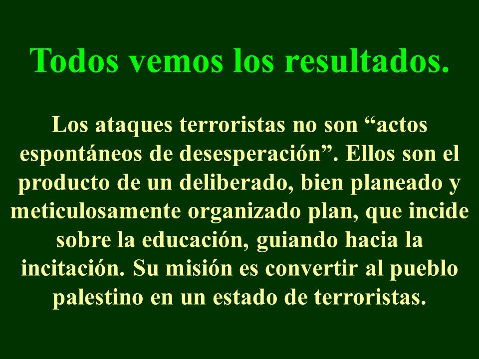 Todos vemos los resultados. Los ataques terroristas no son actos espontáneos de desesperación.