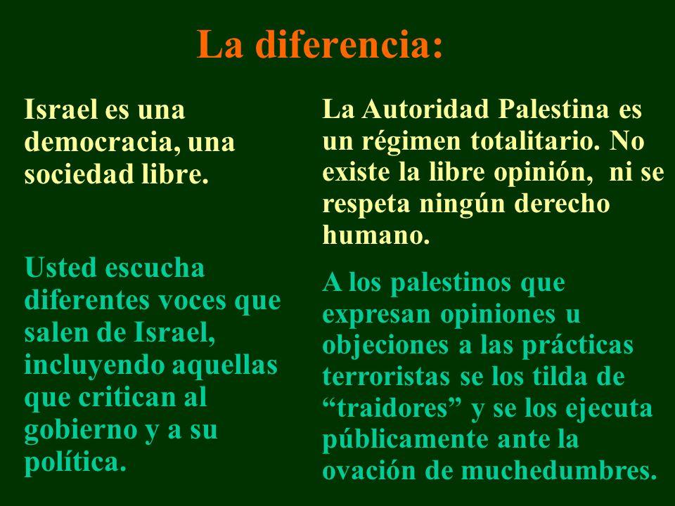La diferencia: Israel es una democracia, una sociedad libre.