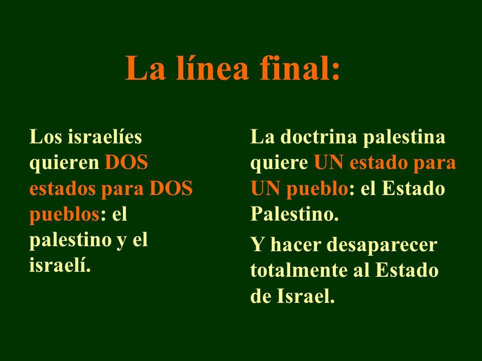 La línea final: Los israelíes quieren DOS estados para DOS pueblos: el palestino y el israelí.