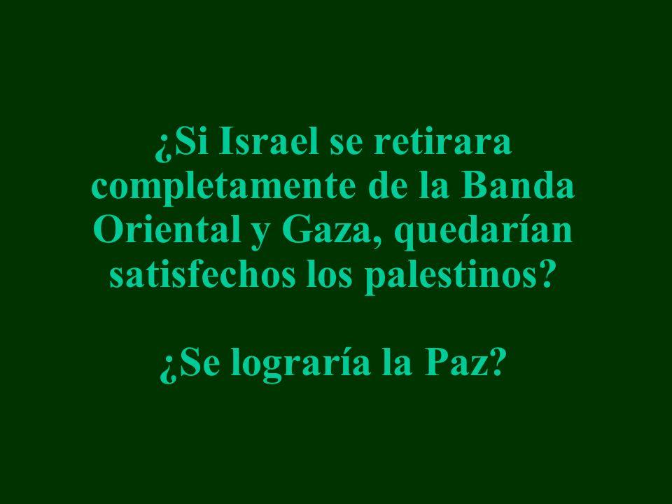 ¿Si Israel se retirara completamente de la Banda Oriental y Gaza, quedarían satisfechos los palestinos.
