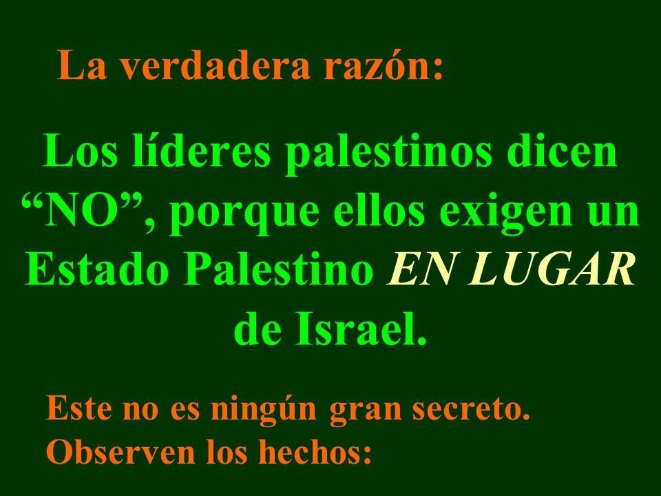Los líderes palestinos dicen NO, porque ellos exigen un Estado Palestino EN LUGAR de Israel.