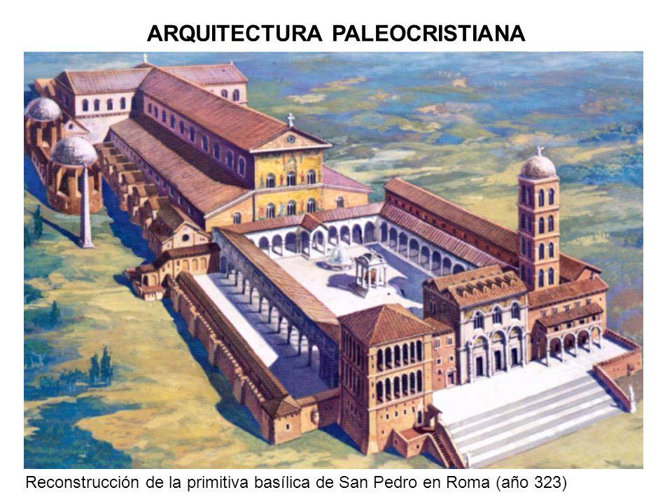 ARQUITECTURA PALEOCRISTIANA Reconstrucción de la primitiva basílica de San Pedro en Roma (año 323)
