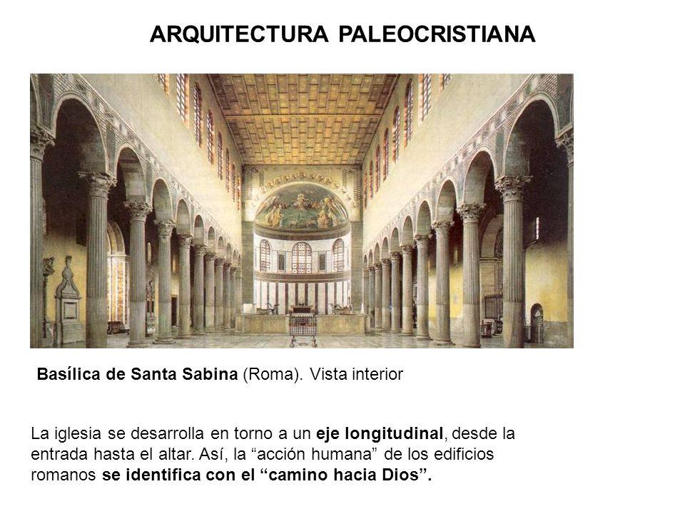 La iglesia se desarrolla en torno a un eje longitudinal, desde la entrada hasta el altar. Así, la acción humana de los edificios romanos se identifica