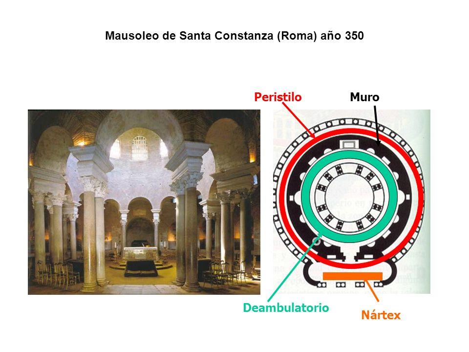PeristiloMuro Deambulatorio Nártex Mausoleo de Santa Constanza (Roma) año 350