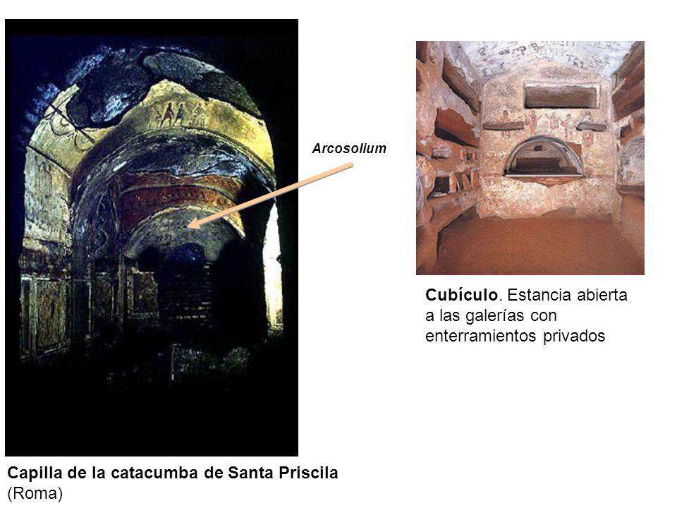 Capilla de la catacumba de Santa Priscila (Roma) Arcosolium Cubículo. Estancia abierta a las galerías con enterramientos privados