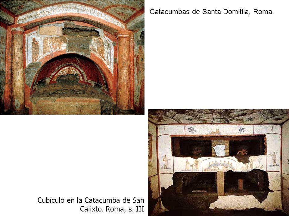 Catacumbas de Santa Domitila, Roma. Cubículo en la Catacumba de San Calixto. Roma, s. III