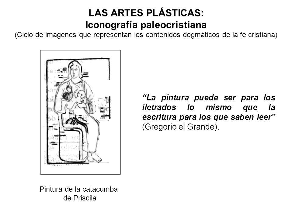 LAS ARTES PLÁSTICAS: Iconografía paleocristiana (Ciclo de imágenes que representan los contenidos dogmáticos de la fe cristiana) Pintura de la catacum
