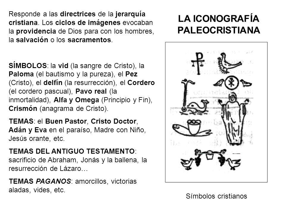 LA ICONOGRAFÍA PALEOCRISTIANA Responde a las directrices de la jerarquía cristiana. Los ciclos de imágenes evocaban la providencia de Dios para con lo