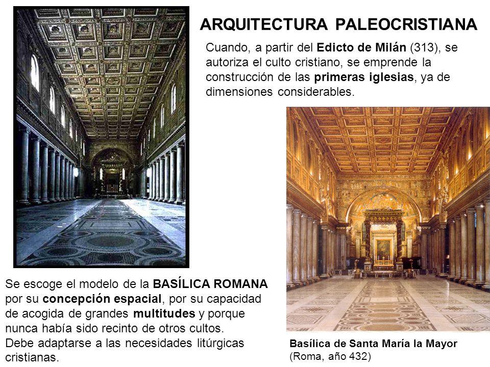 Interior de la primitiva basílica paleocristiana de San Pedro en Roma Altar con baldaquino, situados en el ábside ARQUITECTURA PALEOCRISTIANA