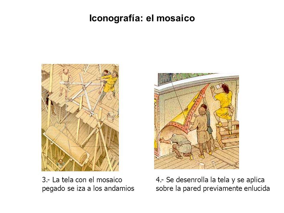 3.- La tela con el mosaico pegado se iza a los andamios 4.- Se desenrolla la tela y se aplica sobre la pared previamente enlucida Iconografía: el mosa