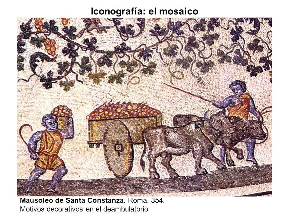Mausoleo de Santa Constanza. Roma, 354. Motivos decorativos en el deambulatorio Iconografía: el mosaico