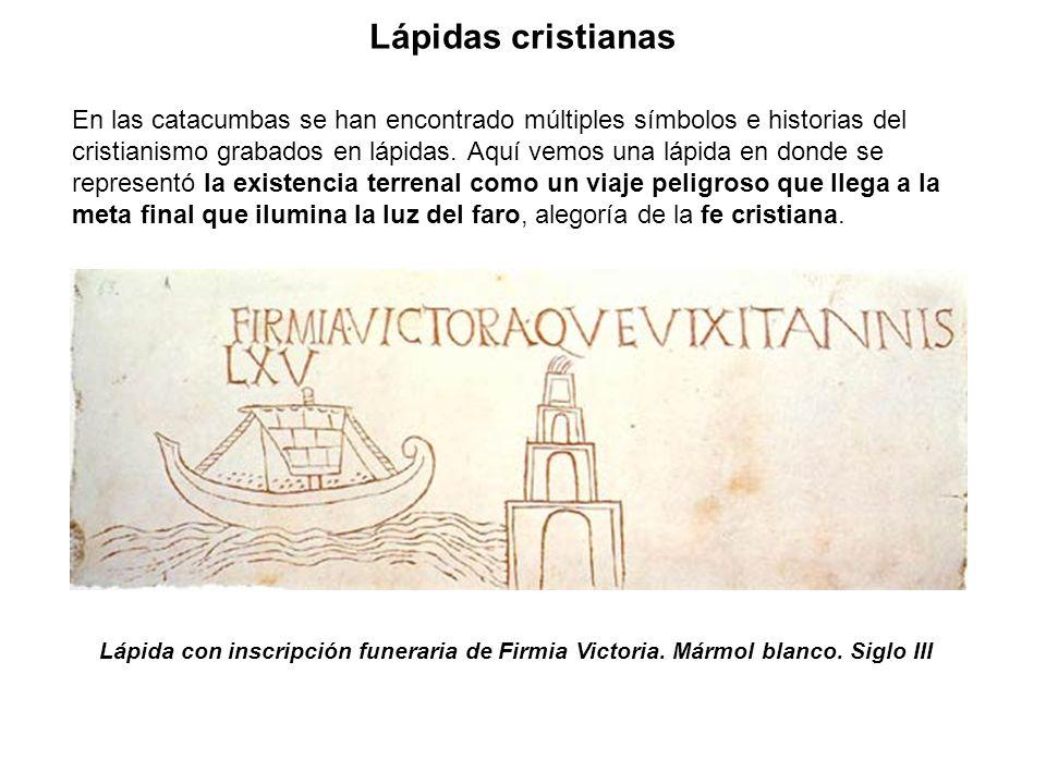 En las catacumbas se han encontrado múltiples símbolos e historias del cristianismo grabados en lápidas. Aquí vemos una lápida en donde se representó