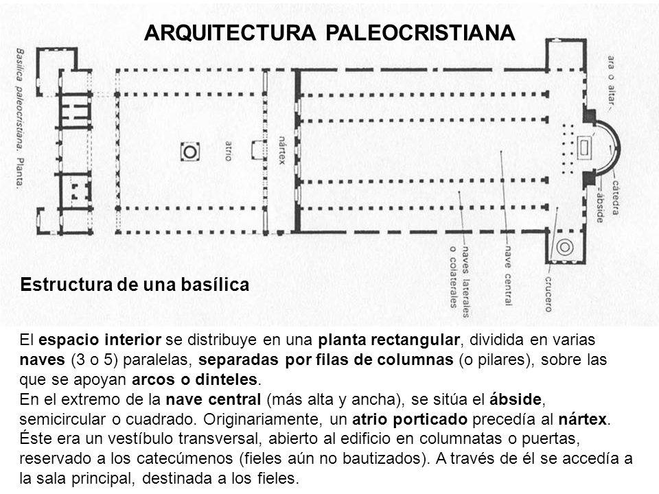 ARQUITECTURA PALEOCRISTIANA Estructura de una basílica El espacio interior se distribuye en una planta rectangular, dividida en varias naves (3 o 5) p