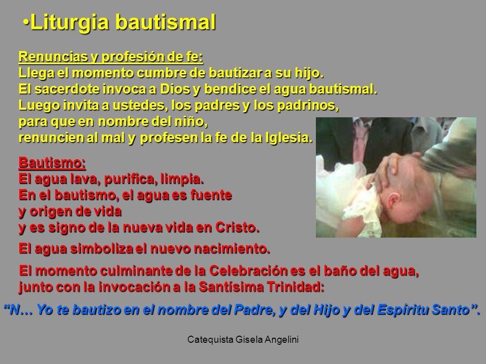 Catequista Gisela Angelini Liturgia bautismalLiturgia bautismal Renuncias y profesión de fe: Llega el momento cumbre de bautizar a su hijo. El sacerdo